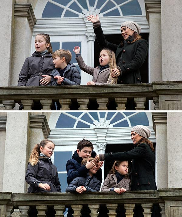 Prince Frederik, who is currently in Switzerland, missed out on the fun day.