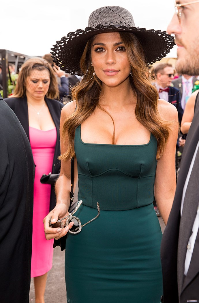 Pia Miller is a vision in emerald.