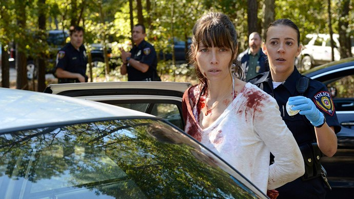 Jessica in her new role on *The Sinner*