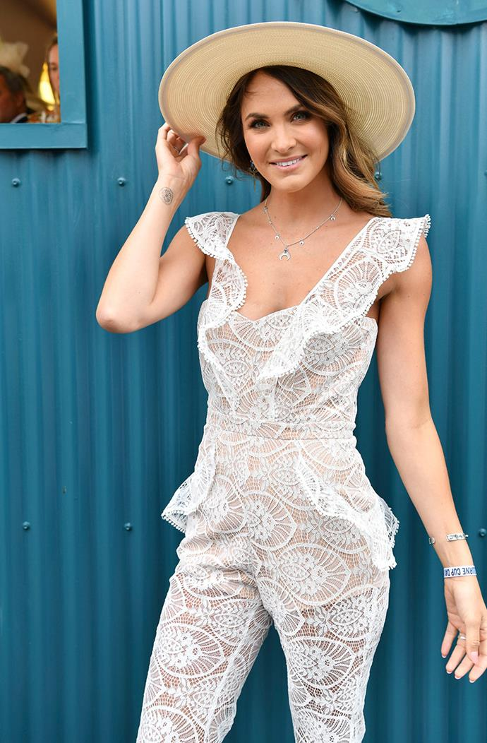 The Bachelor's Laura Byrne looked stunning in a white lace jump suit.