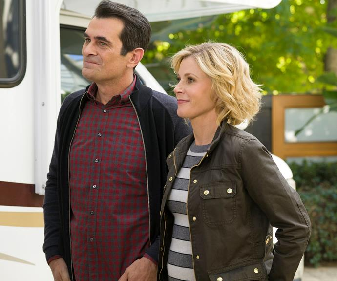 **Phil and Claire Dunphy -** ***Modern Family*** Phil (Ty Burrell) is the goofy and fun-loving father while Claire (Julie Bowen) likes to run a tight ship. Despite their striking personality differences, this couple are one of our favourite duos on TV. We see them trying to handle their three kids and crazy fam, while also getting some much needed alone time to themselves.