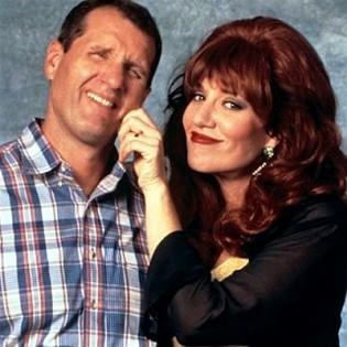**Al and Peggy Bundy -** ***Married With Children***  <br><br> Entertaining us for 10 years until 1997, Al (Ed O'Neill) and Peggy (Katey Sagal) lit up our TV screens with their quirky and colourful bond. The couple often through insults at each other and were at war with how they looked after their two wild children, but beneath it all was evident love.
