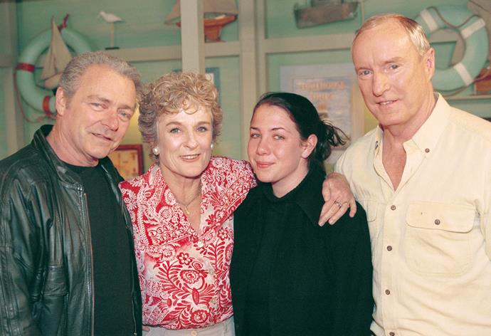 L-R: Don Fisher (Norman Coburn), Judy, Sally Fletcher (Kate Ritchie) and Alf Stewart (Ray Meagher)