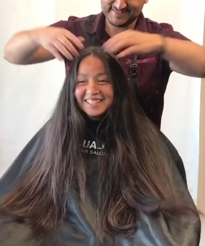 """""""Chop chop! She had so much hair, she was ready for a change!"""" hair stylist Jay Rua, captioned the video of the girl's hair transformation."""