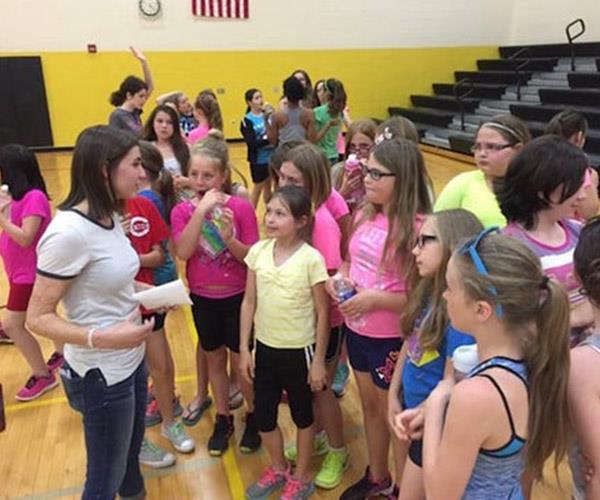 Kilee speaking to students as part of Georgetown Elementary School's GirlStrong program, April 2016. *Photograph: Lori Highlander*