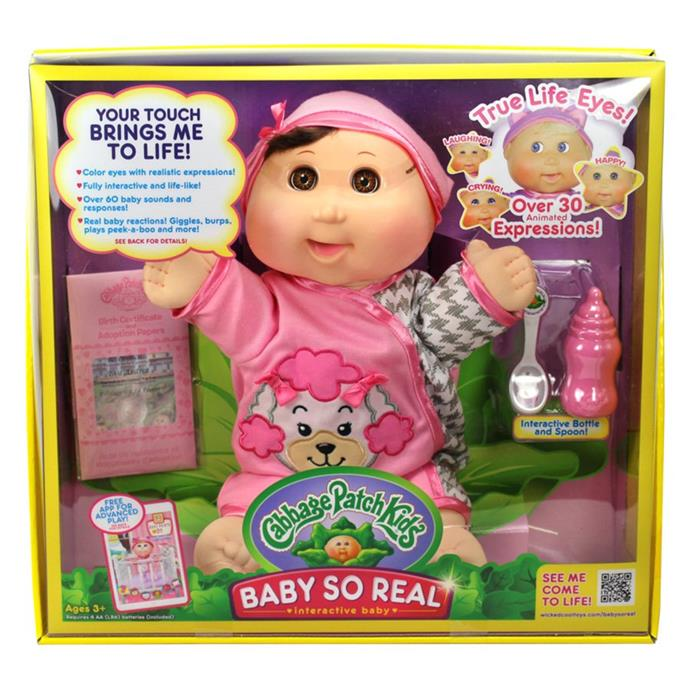 "Cabbage Patch Kids Baby So Real might just be the most advanced baby doll we've seen with over 30 animated expressions and 60 baby sounds. This one is bound to be in high-demand - get in early! [$229.99, Toys R Us](https://www.toysrus.com.au/cabbage-patch-kids-baby-so-real-brunette/|target=""_blank""