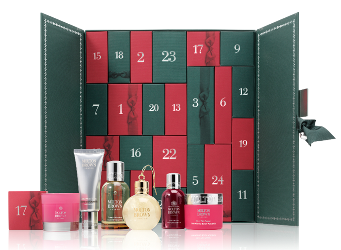 """**Molton Brown advent calendar** <br><br> Hands up if you love super-lush body moisturisers and washes, exuberant lotions and hair masks? Let every day of December be a treat-yourself moment with [Molton Brown's luxury beauty advent calendar](https://www.moltonbrown.com.au/store/gifts/gift-sets/cabinet-of-scented-luxuries-advent-calendar/MBC710/ target=""""_blank"""" rel=""""nofollow""""). Sure, it may come in at $399, but just think of it as an investment in your health, wealth and happiness. That's what we'll be doing..."""
