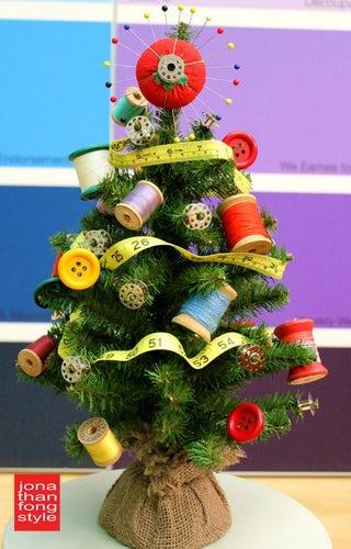 Why have a sewing kit when you can just chuck it all on your tree?