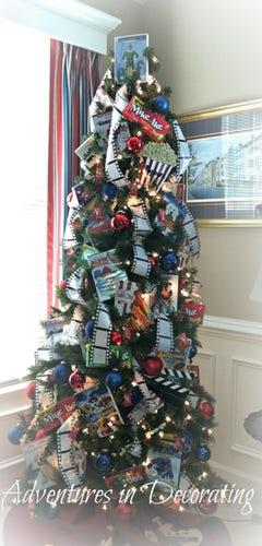 All we want for Christmas is this movie-reel tree, with *Elf* perched on top.