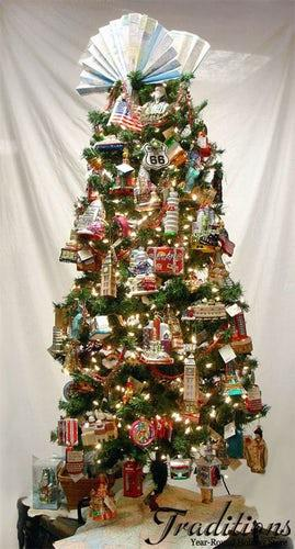 This travel addict's Christmas tree is a spot to put all of those silly souvenirs you've bought while on holiday, but never actually use...
