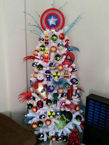 We don't even know where to begin with this Superhero Christmas tree...