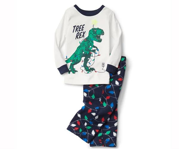"""Little boys will enjoy a wintry Christmas in these comfy and cool 'Tree Rex' pajamas. [$39.95, Gap.](http://www.gap.com/browse/product.do?pid=936092002&rrec=true&mlink=5050,12413545,gapproduct1_rr_3&clink=12413545
