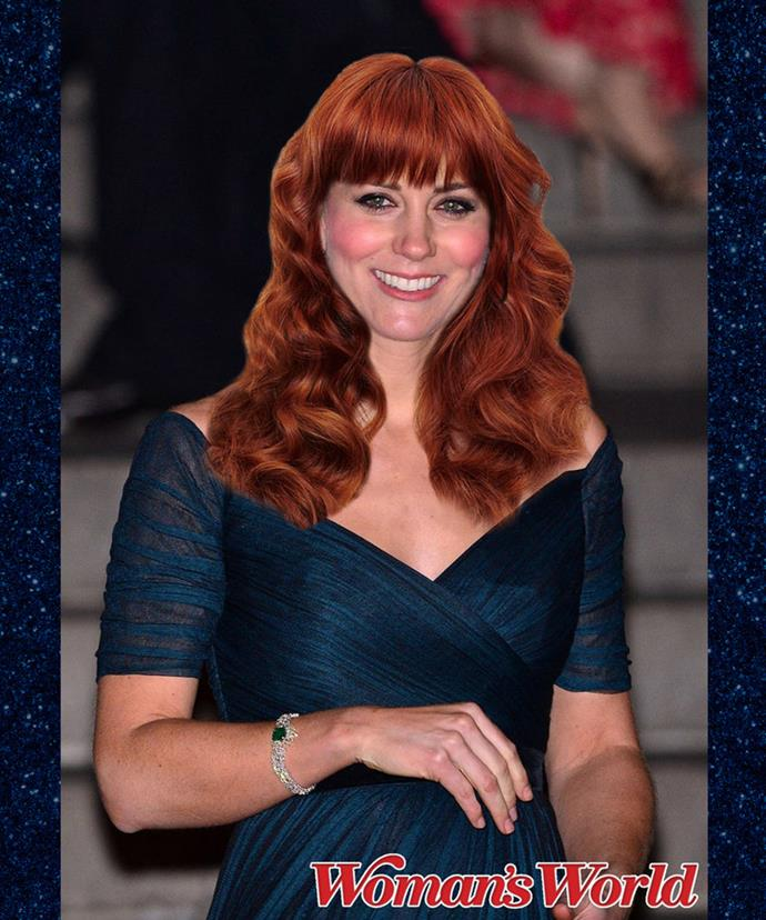 Even with fiery red hair, she looks like royalty.