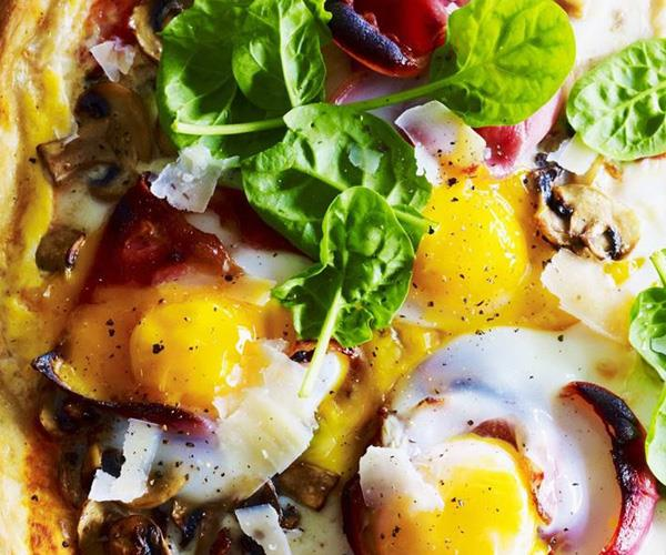 "**Breakfast egg, mushroom and prosciutto pizzas**. Start your day with a delicious egg, mushroom and prosciutto breakfast pizzas. Find the recipe [here](http://www.foodtolove.com.au/recipes/breakfast-egg-mushroom-and-prosciutto-pizzas-25307|target=""_blank"")."