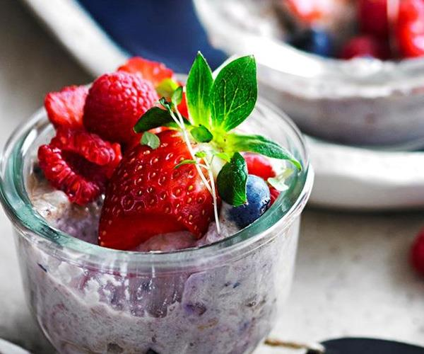 "**Berry and coconut chia puddings**. This berry and coconut chia puddings are naturally sweet and packed full of the goodness of chia seeds to keep you fueled for Christmas day. Find the recipe [here](http://www.foodtolove.com.au/recipes/berry-and-coconut-chia-puddings-16905|target=""_blank"")."