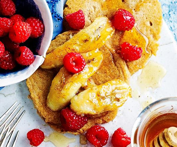 "**Gluten-free pancakes with grilled honey bananas and raspberries**. This is a sweet and delicious brekky the whole family can enjoy on Christmas morning! Find the recipe [here](http://www.foodtolove.com.au/recipes/gluten-free-pancakes-with-grilled-honey-bananas-and-raspberries-32458|target=""_blank"")."