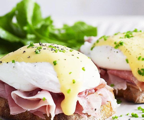 "**Eggs benedict**. It's a classic. Add a little extra flavour to your poached eggs and ham with creamy and tangy homemade hollandaise sauce. Find the recipe [here](http://www.foodtolove.com.au/recipes/eggs-benedict-4267|target=""_blank"")."