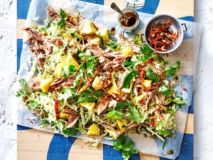 "**Sesame duck salad** <br><br> Packed full of tender roasted duck, sweet pineapple and fresh herbs and spices, this Chinese-style salad is both healthy and delicious. <br><br> [Read the full recipe here.](http://www.foodtolove.com.au/recipes/sesame-duck-salad-32540|target=""_blank"")"