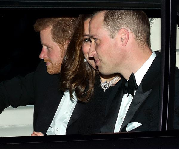 The royal trio were dressed in black-tie attire for the private dinner party.
