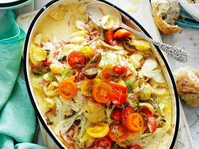 "**Baked pasta with ham, blue cheese and fennel** <br><br> Snuggle up and enjoy a big bowl of this deliciously cheesy and creamy baked pasta with ham, blue cheese and fennel. It's the ultimate comfort food.  <br><br> [**Read the full recipe here**](https://www.womensweeklyfood.com.au/recipes/baked-pasta-with-ham-blue-cheese-and-fennel-28846|target=""_blank"")"