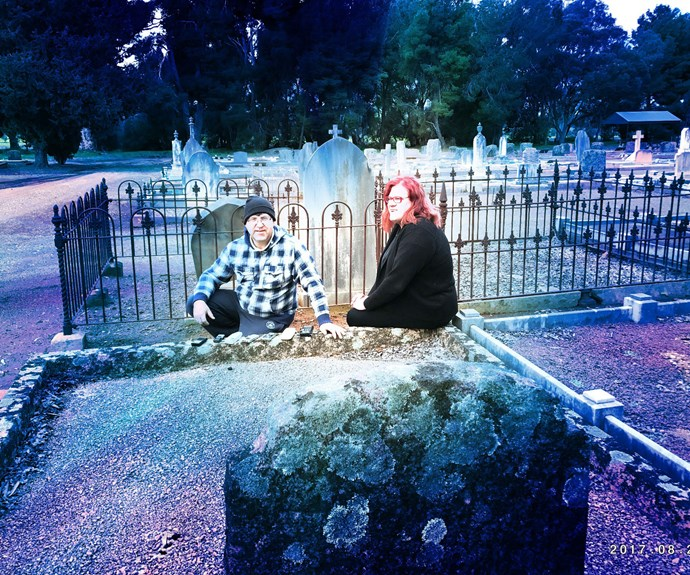 Me and Werner at a cemetery in Clare Valley.