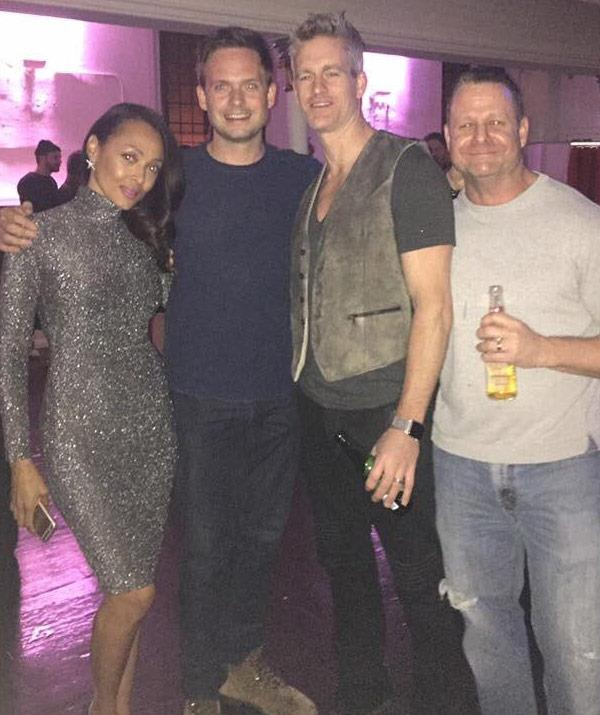 Nicky with Meghan's on-screen love interest Patrick J. Adams at the *Suits* Season 6 wrap up party. (Pic credit: Twitter)