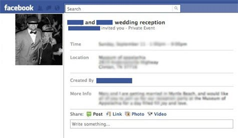 Facebook wedding invitations, the worst of the worst! Definitely just lazy. Photo Credit: Theuniversalsolvent