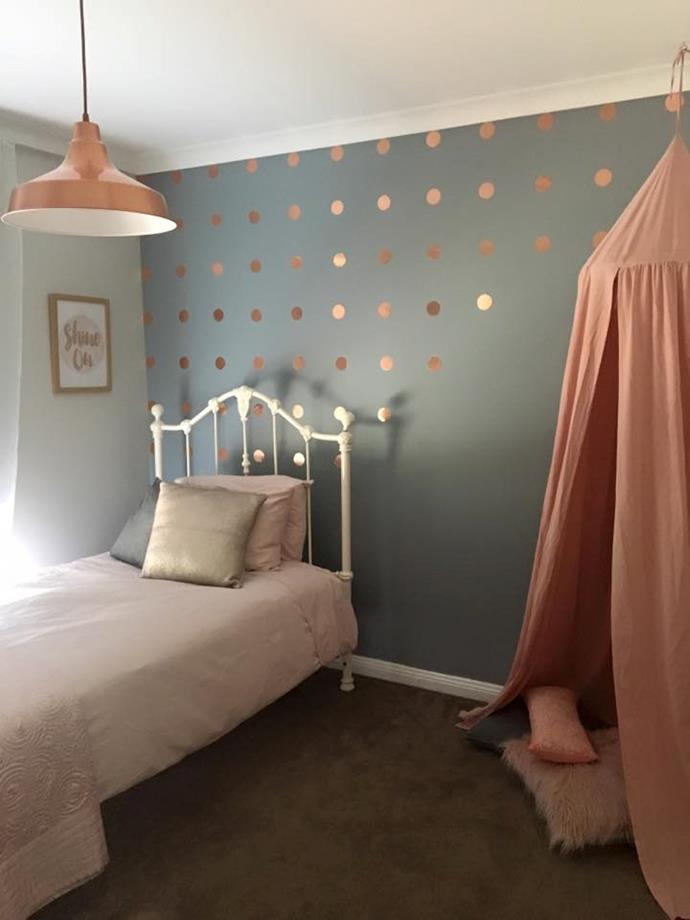 "You don't need to spend a fortune to create a whole new room for your little one.   Using the $5 Kmart stationary adhesive in copper, this Kmart Mum managed to create a very trendy new look.  ""LOVING the rose gold adhesive vinyl! All cut out by hand and measured. A little hack of my own,"" she said."