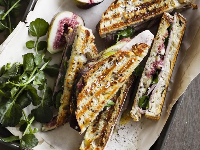 "**Chunky ham and fig sandwiches** <br><br> Turn the humble toastie into the star event by adding cheese, figs and watercress.  <br><br> [**Read the full recipe here**](https://www.womensweeklyfood.com.au/recipes/chunky-ham-and-fig-sandwiches-16574|target=""_blank"")"