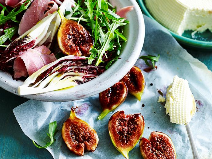 "**Ham salad with ricotta and balsamic figs** <br><br> Smokey hearty ham salad with smooth ricotta and zingy balsamic figs - a truly winning combination! Enjoy for dinner any night of the week! <br><br> [**Read the full recipe here**](https://www.womensweeklyfood.com.au/recipes/ham-salad-with-ricotta-and-balsamic-figs-29010|target=""_blank"")"