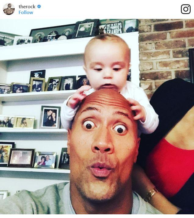 "The Rock was downright adorable in 2016: ""Joys of Thanksgiving. House full of babies and they all want to play drums on Uncle DJ's head. Thanks for the drool kid."""