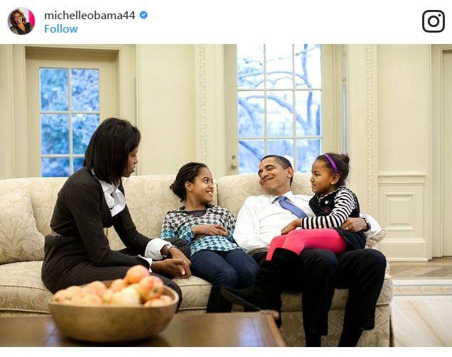 """Michelle Obama posted a flashed back snap: """"Today and every day we have a lot to be thankful for. From our family to yours - Happy Thanksgiving."""""""
