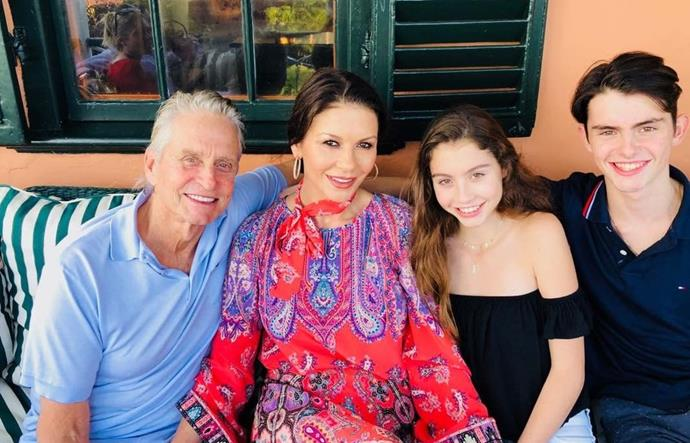 "Catherine Zeta-Jones says, ""Happy Thanksgiving from Bermuda!!"" How much have her kids grown up?"