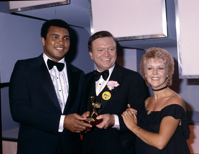 With legendary boxer Muhammad Ali at the Logies in 1979.