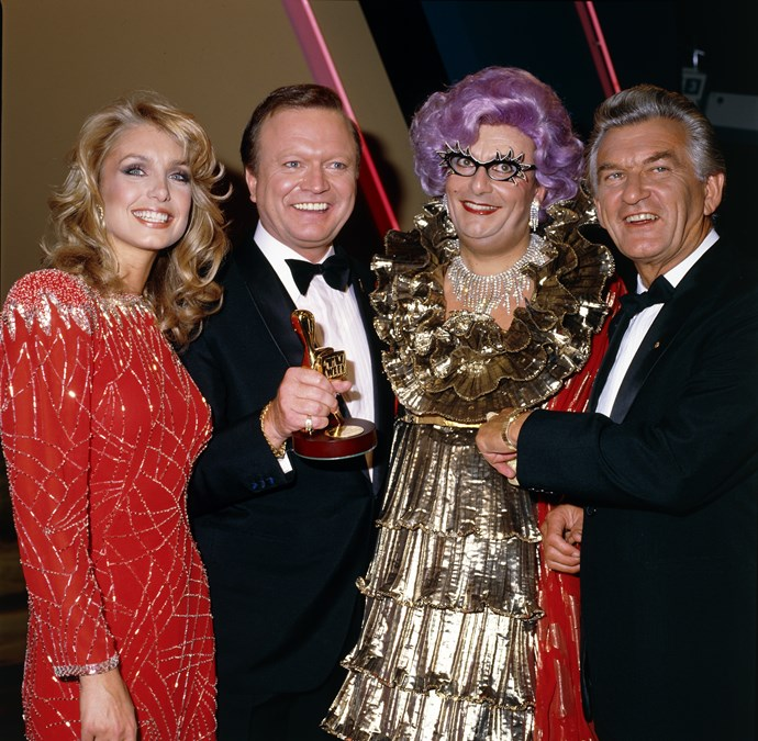 At the 1984 Logies with Dame Edna Everage and Prime Minister Bob Hawke.