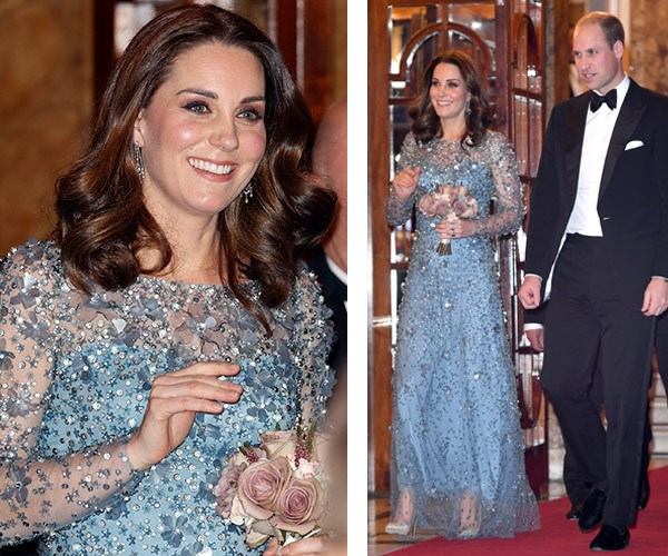 The 35-year-old showed off her growing baby bump in a dusky blue embellished Jenny Packham gown.