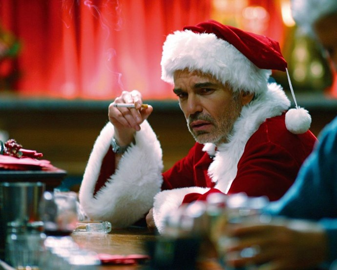 ***Bad Santa*** (2003, Netflix) Willie (Billy Bob Thornton) is failing his job as a department store Santa Claus, but soon befriends a child who brings out his kinder side.