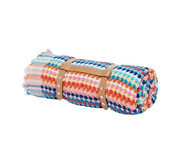 """Perfect for days at the beach or in the park - a colourful towel (that doubles as a picnic blanket like this one) is a thoughtful pressie for a new mum who likes to enjoy summer days outside with her bub. [$89.95, Seafolly.](http://www.seafolly.com.au/rainbow-blanket-71197-tl.html target=""""_blank"""" rel=""""nofollow"""")"""