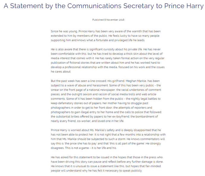 "Image sourced from the [official website of the British Royal Family](https://www.royal.uk/statement-communications-secretary-prince-harry|target=""_blank"")."