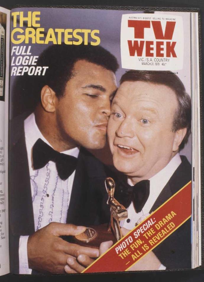 Muhammad Ali and Bert Newton at the TV WEEK Logie Awards in 1979.