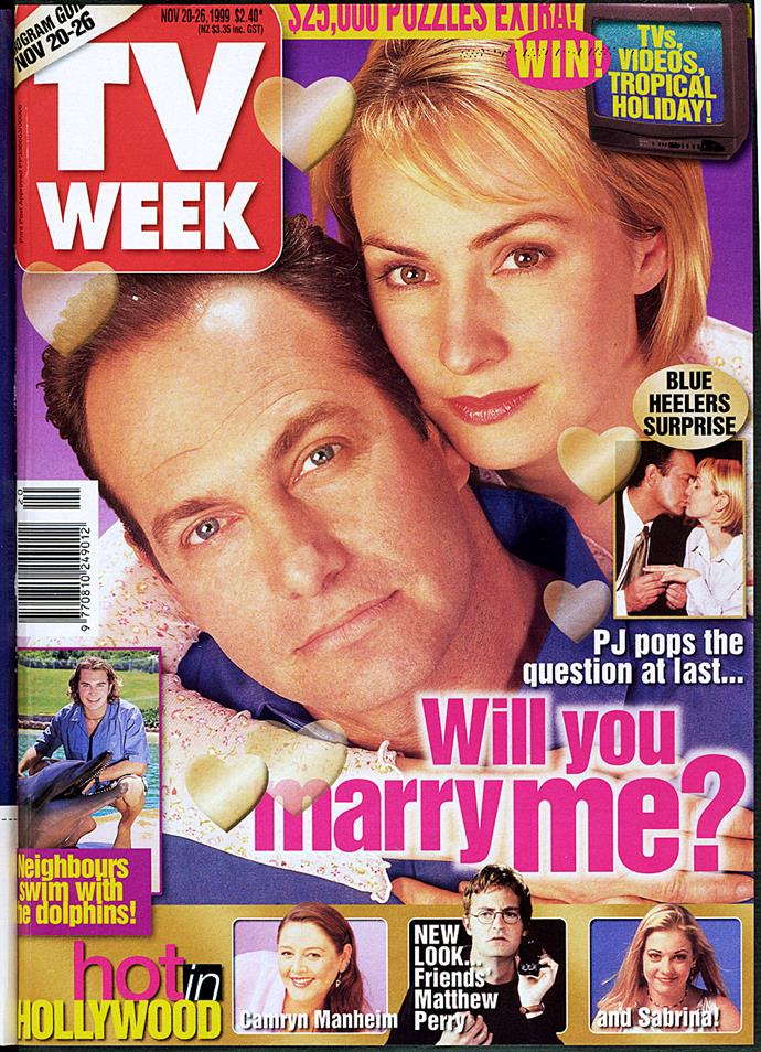 1999: Maggie (Lisa McCune) and PJ (Martin Sacks) were our favourite TV couple on *Blue Heelers*!