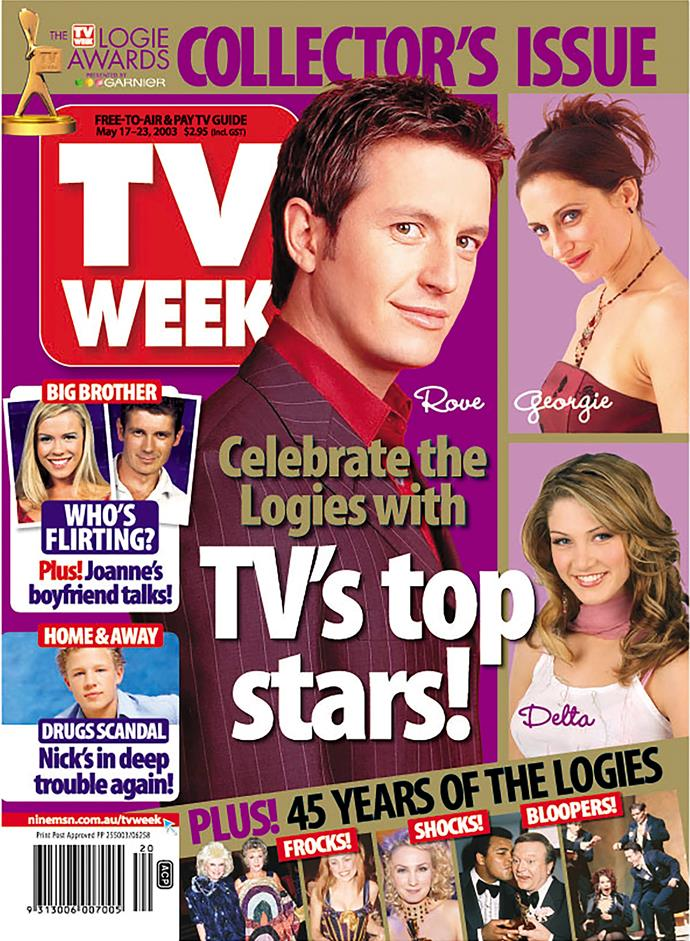 2003: We love that Rove McManus is rocking a maroon pinstripe suit AND a red shirt.