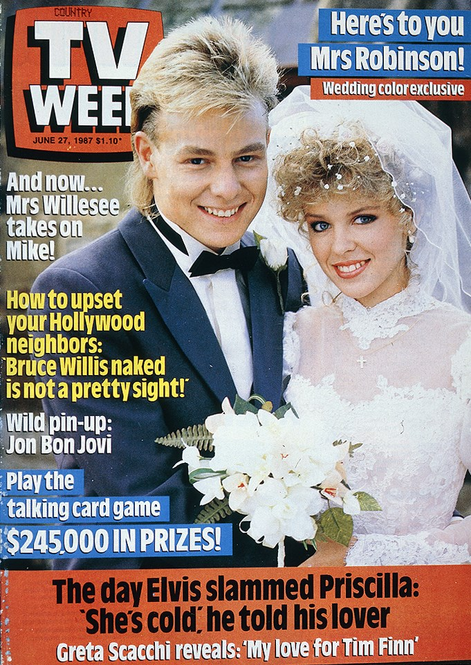 1987: One of the greatest TV weddings of all time - Scott (Jason Donovan) and Charlene (Kylie Minogue) got hitched on *Neighbours*!