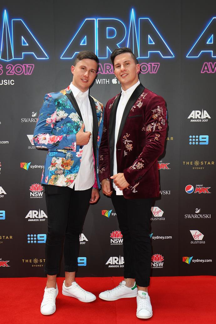 Jordan and Brandon Abou-Ghaida of Take Two revamping the usual red-carpet blazer with floral motifs.