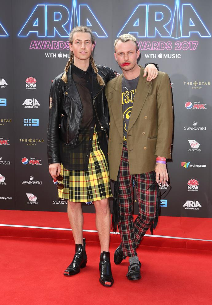 Dickie's son Christian Wilkins and his mate Andrew Kelly are rocking the tandem-tartan trend. But that
