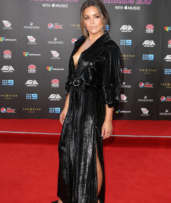 Olympia Valance is a goddess in this glittery number.