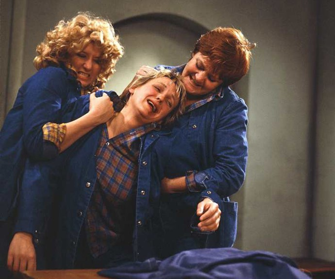 "**1979:** Wentworth Detention Centre inmates Bea Smith (Val Lehman), Franky Doyle (Carol Burns) and Lizzie Birdsworth (Sheila Florance) were the stars of drama *Prisoner*. ""Hard-hitting, fast action, with genuine issues,"" Val, who ruled the steam press, recalled."