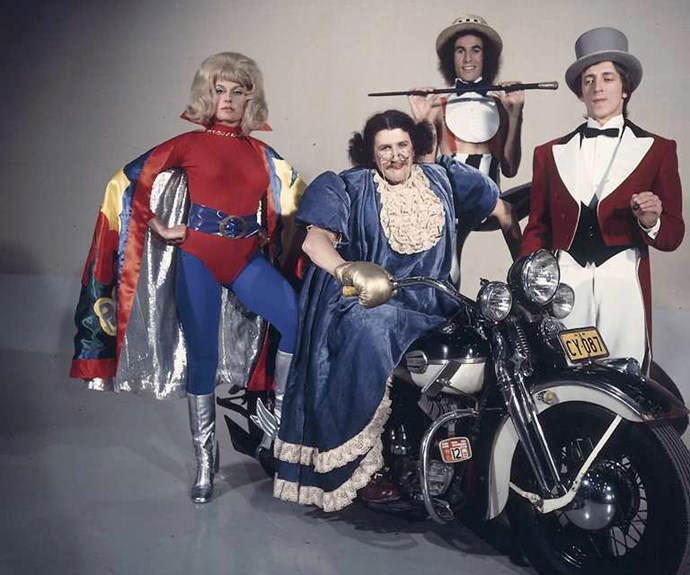 **1975:** A rainbow actually looked like one when TV was broadcast in full colour from March 1. ABC comedy fave Aunty Jack was the first character to appear.