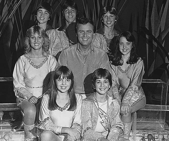 **1971:** Teenage song-and-dance show *Young Talent Time* took centre stage, hosted by Johnny Young. Over the next 18 years, it bred stars like Tina Arena (above far right) and Dannii Minogue.