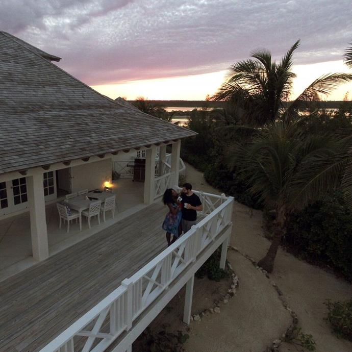 """Happy honeymooning, Serena and Alexis! Oh, and you can [book](https://www.booking.com/hotel/bs/kamalame-cay.en-gb.html target=""""_blank"""" rel=""""nofollow"""") their villa for around $35,000 per week. Just in case you happen to have it lying around."""